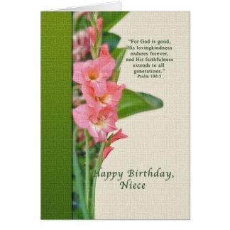 誕生日、姪、ピンクのグラジオラス カード