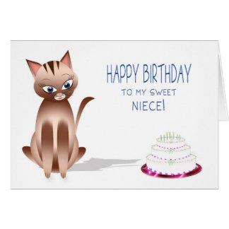 誕生日-姪-子猫猫-ケーキ カード