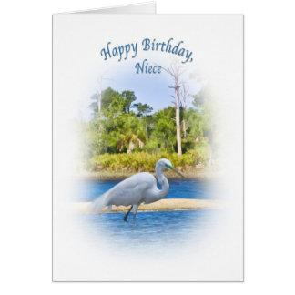 誕生日、姪、素晴らしい白鷺 カード
