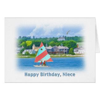 誕生日、姪、航海のな湖のヨット カード