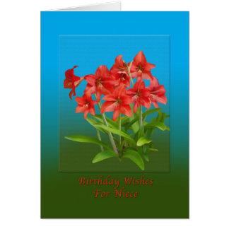 誕生日、姪、赤いワスレグサ カード