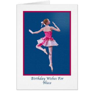 誕生日、姪、青のバレリーナ カード