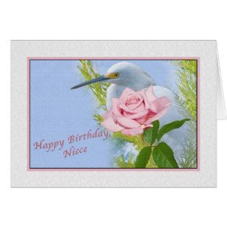 誕生日、姪、Snowy白鷺およびピンクのバラ カード