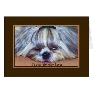 誕生日、恋人、シーズー(犬)のTzu眠い犬 カード
