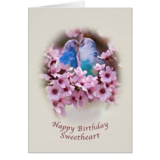 誕生日、恋人、愛情のあるインコ カード