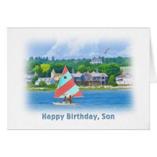 誕生日、息子、航海のな湖のヨット カード