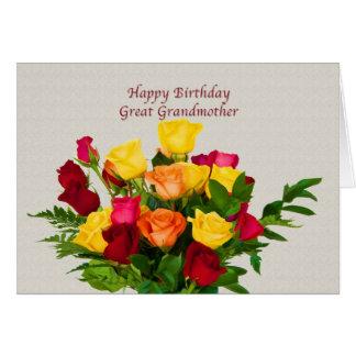 誕生日、曾祖母、ばら色の花束カード グリーティングカード