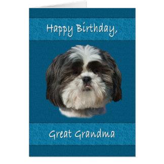 誕生日、曾祖母、シーズー(犬)のTzu犬 グリーティングカード