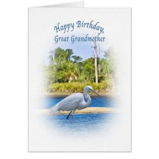 誕生日、曾祖母、素晴らしい白鷺 グリーティングカード