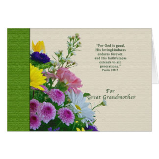 誕生日、曾祖母、花花束 カード