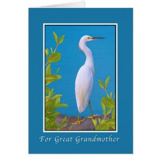 誕生日、曾祖母、Snowy白鷺の鳥 カード