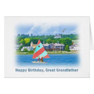 誕生日、曾祖父、湖のヨット、 カード