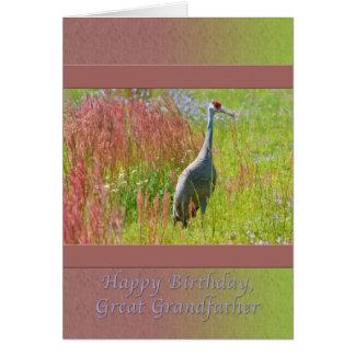 誕生日、曾祖父、Sandhillクレーン鳥 カード