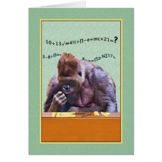 誕生日、机のゴリラ カード