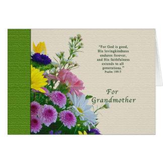 誕生日、祖母、宗教花花束 グリーティングカード