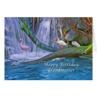 誕生日、祖母、熱帯滝、鳥 グリーティングカード