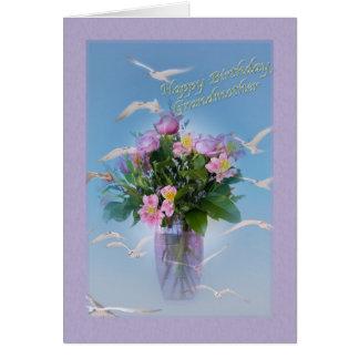 誕生日、祖母、花および鳥 グリーティングカード