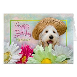 誕生日-祖母- PUPPY/FLOWERS/SUNHAT カード