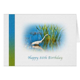 誕生日、第86の池の素晴らしい白鷺 グリーティングカード