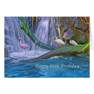 誕生日、第86の熱帯滝、野生の鳥 グリーティングカード