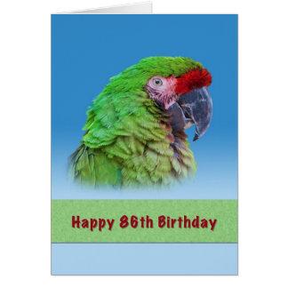 誕生日、第86の緑のオウム グリーティングカード