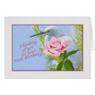 誕生日、第89、ピンクのバラおよびSnowy白鷺の鳥 グリーティングカード