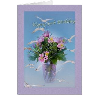 誕生日、第89、花および鳥 グリーティングカード