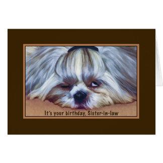 誕生日、義理の姉妹、シーズー(犬)のTzu眠い犬 カード