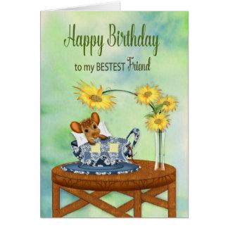 誕生日-親友-ティーカップの休息のマウス カード
