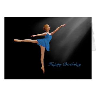 誕生日、黒のアラベスクの位置のバレリーナ カード