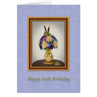 誕生日、85thの黄色いつぼカードの花 グリーティングカード