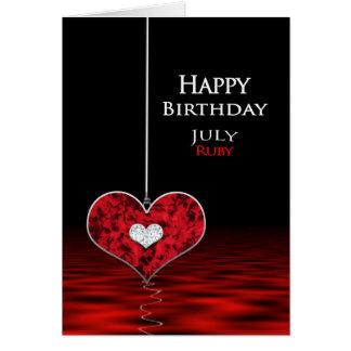 誕生日- Birthstone - 7月-ルビー グリーティングカード