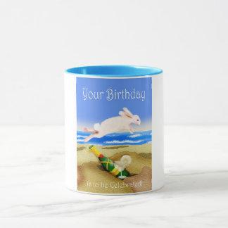 誕生祝い、シャンペンおよびウサギのマグ マグカップ