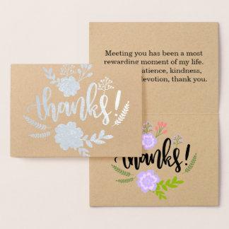 誠実な銀ぱくの花のタイポグラフィは感謝していしています 箔カード