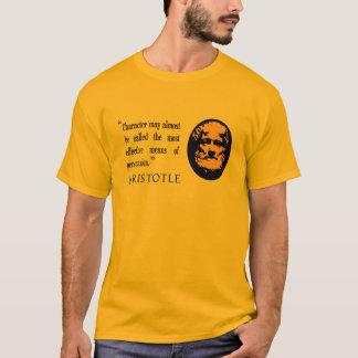説得、アリストテレスの引用語句のマスタードのワイシャツの上 Tシャツ