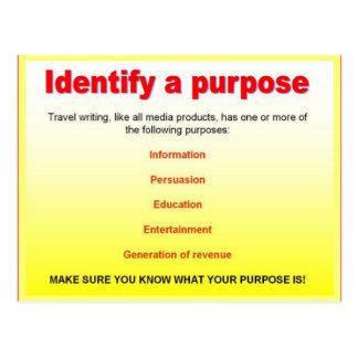 読み書き能力、旅行執筆は、目的を識別します ポストカード
