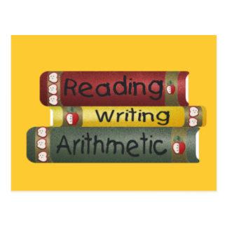 読書および執筆および算術 ポストカード