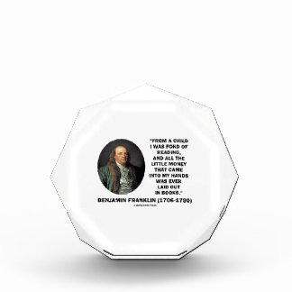 読書お金の引用文が好きなベンジャミン・フランクリン 表彰盾