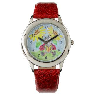 読書てんとう虫の子供のグリッターの腕時計 腕時計