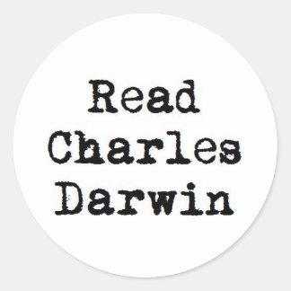 読書のチャールズ・ダーウィンのステッカーセット ラウンドシール