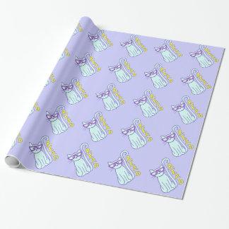 読書の印が付いている紫色ガラスを持つ光景猫 ラッピングペーパー