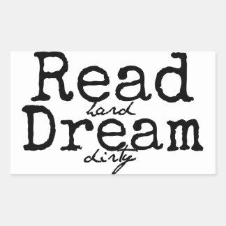 読書の堅い夢の汚れたステッカー 長方形シール