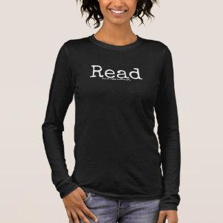 読書の片手の暗いワイシャツ 長袖Tシャツ