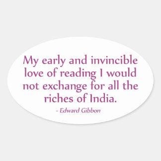 読書の私の早く、無敵愛 楕円形シール