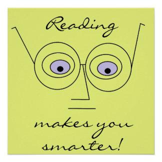 読書はより頭が切れるな顔の身に着けているガラスを作ります ポスター