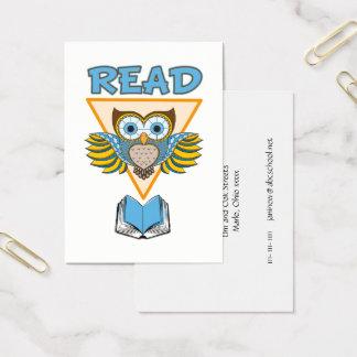 読書は青い金ゴールドのフクロウを予約します 名刺