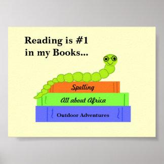 読書メッセージを持つかわいい本の虫 ポスター