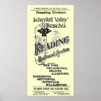 読書鉄道システムタイムテーブルカバー1894年 ポスター
