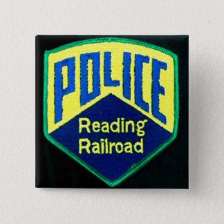 読書鉄道警察は正方形ボタンを修繕します 5.1CM 正方形バッジ