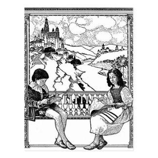読書驚異のTシャツ-青年サイズ ポストカード
